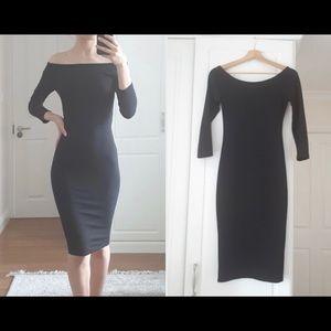 Zara Black Off Shoulder Midi Dress 3/4 Sleeve